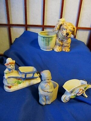 Lot of 4 Vintage MADE IN OCCUPIED JAPAN Figurine Mini Planters/Toothpick Holders