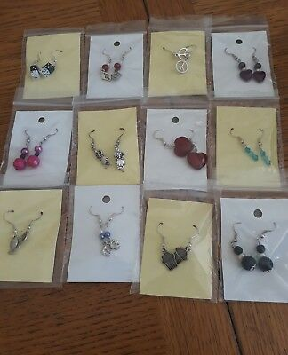 Job lot (1) earrings. 12 pairs all different. Resale. Car boot etc. New