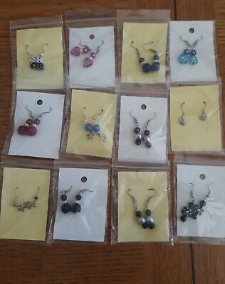 Job lot (2) earrings. 12 pairs all different. Resale. Car boot etc. New
