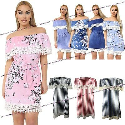 Womens Italian Denim Off Shoulder Ladies Floral Lace Frill Bardot Mini Dress