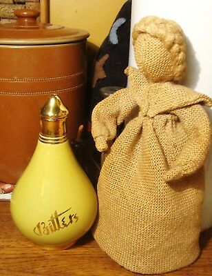 Rare Vintage Jersey Pottery Bitters Bottle - Green And Gold - Good Condition