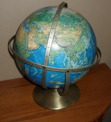 Vintage TRIPLE Axle ROTATING World GLOBE on Stand by Rand McNally~1957-1961