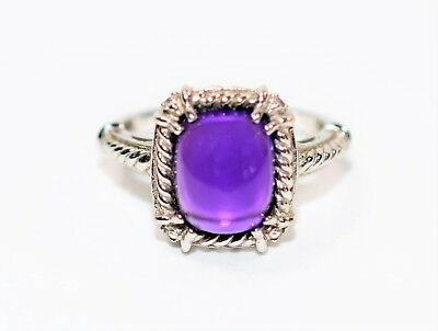 Twisty Rope Design 3.03tcw Cabochon Amethyst & Diamond 14kt White Gold Ring