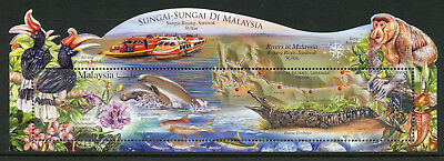 Malaysia 2018 MNH Rivers Rajang 1v M/S Birds Flowers Fish Dolphins Stamps