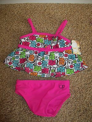 NEW NWT OP Ocean Pacific HOT PINK 1970's Tankini 12 MO infant baby Swimming suit