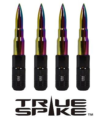 20Pc True Spike 121Mm 12X1.5 Neo Chrome Extended Tuner Spiked Bullet Lug Nuts