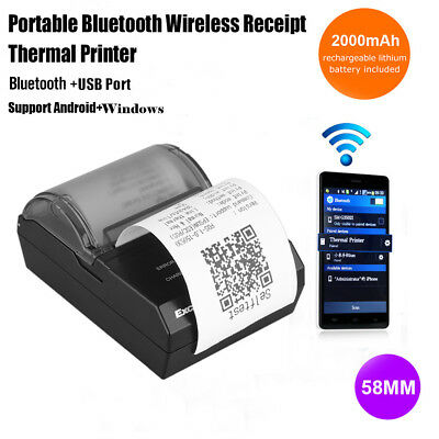 Mini 58mm Bluetooth Wireless Thermal Receipt Printer for iOS Android Win 70mm/s