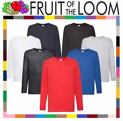 Fruit Of The Loom Children's Valueweight Long Sleeve T-Shirt - Unisex Kids Tops