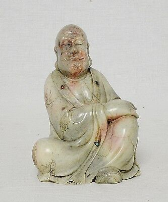 Nice  Hand  Carved  Chinese  Shou-Shan  Stone  LouHan  Figure     M2844