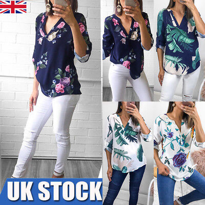Womens V-Neck Floral Loose Chiffon Shirt Ladies Rolled Long Sleeve Tops Blouse
