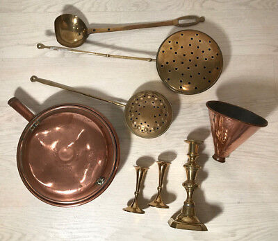 ~Lot Of Antique Brass And Copper Items, Chestnut Roasters, Bed Pan, Candlestick~