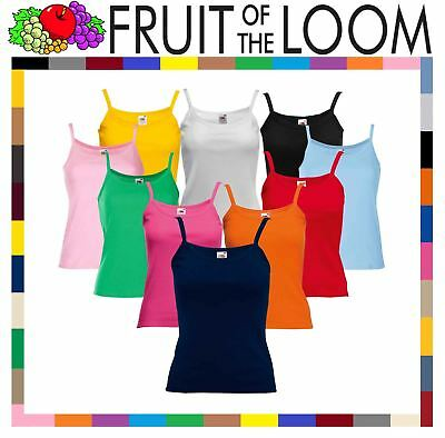Fruit Of The Loom LADY FIT STRAP T-SHIRT VEST TOP PLAIN COTTON XS-2XL OFFER NEW