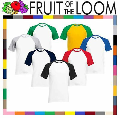 Fruit Of The Loom MEN'S T-SHIRT BASEBALL TEE SPORTS CONTRAST SHORT SLEEVES S-3XL