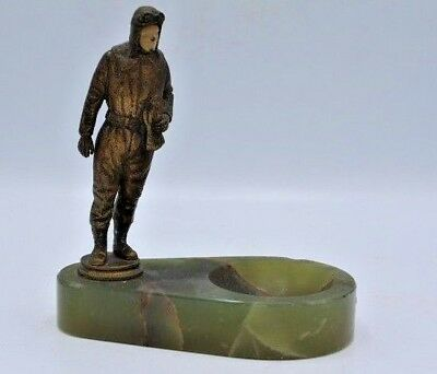 Vintage Spelter / White Metal Small Charles Lindbergh Statue w/ Dish / Ashtray