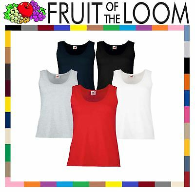 Fruit Of The Loom LADIES VEST SUMMER TANK TOP COTTON PLAIN COMFORT XS-2XL OFFER