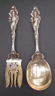 Reed & Barton Love Disarmed Sterling Silver Salad Serving Fork & Spoon - ESTATE