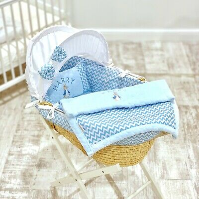 Personalised 5 Pc Luxury Moses Basket Cover Dressing Blanket Boys Peter Rabbit