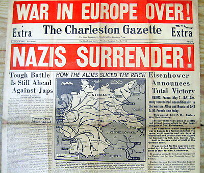 "May 7 1945 WW II display newspaper ""EXTRA"" GERMANY SURRENDERS to ALLIES  V-E DAY"