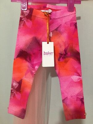 New Baby Girls Designer Ted Baker Pink Bow Print Quilted Leggings 12-18m