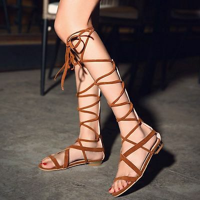 Sexy New Womens Gladiator Lace Up Strappy Flats Beach Sandals Roman Shoes summer