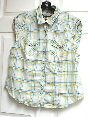 Harley Davidson Yellow Blue Plaid Sleeveless Snap Shirt Embroidered  Butterfly