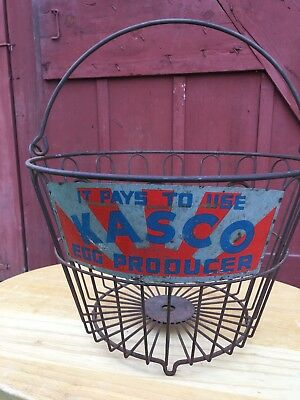 Antique Vintage Kasco Egg Basket Wrought Iron RARE UNIQUE
