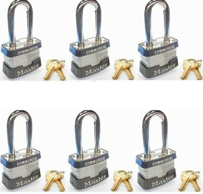 3KALF-3769 Master commercial padlocks, (lot of 6) keyed alike, long shackle.