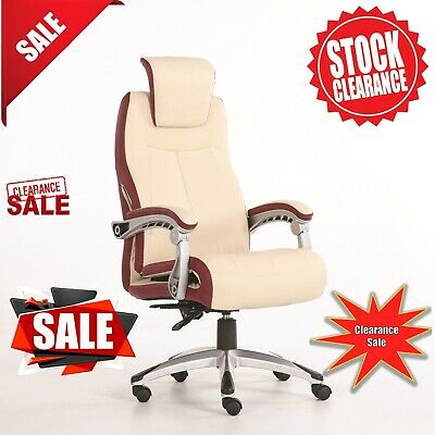 New Executive Deluxe Office Chair Windsor Premium PU Leather Computer Work Cream