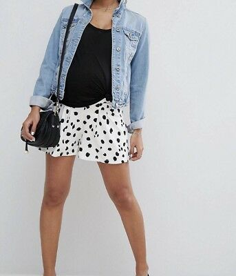 ASOS Maternity Cullotte Shorts Size 10 White & Black Animal Print