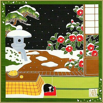 FUROSHIKI Japanese Wrapping Cloth Cotton MADE IN JAPAN 50cm Tama Cat Camellia