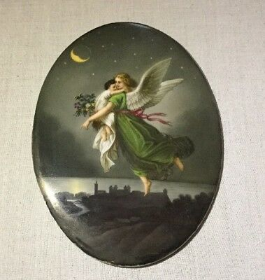 ANTIQUE GERMAN KPM Style Hand Painted Plaque ANGEL Carrying Child to Heaven