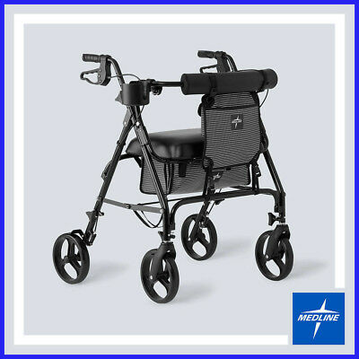 [No Tax]  Medline Heavy Duty Rolling Walker , Black Frame, Capacity 400 lbs