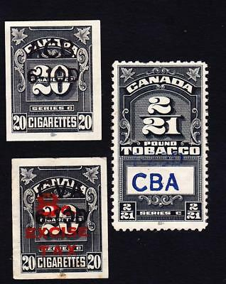 Canada used: set of 3 Canada tobacco stamps