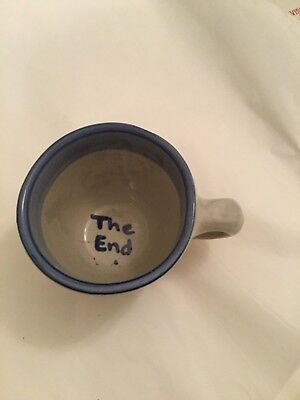 """EXCELLENT COND M.A. Hadley Small Mug w/ Lamb (""""The End"""" inside) - 3.5""""W x 3""""T"""