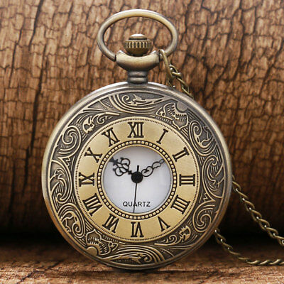 Retro Vintage Bronze Quartz Pocket Watch Necklace Roman Number Steampunk Gift