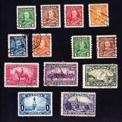 Canada used: 1935 KGVI pictorial set of 13 stamps sc#217-227 + coils #228-29