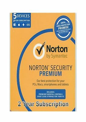 Norton Security Premium 5 Devices 2 Years Subscription BRAND NEW SEALED