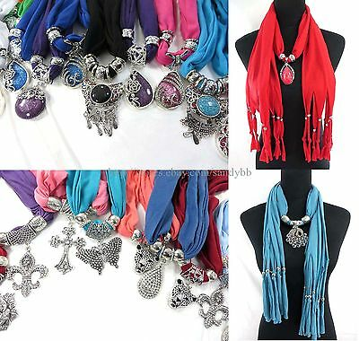 US SELLER-6pcs wholesale jewelry scarf necklace bulk lot wrap Scarves bulk