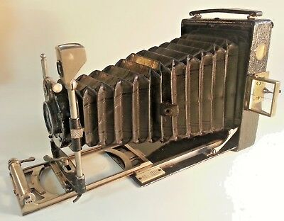 ANTIQUE GOERZ TENAX - 1/4 PLATE FOLDING BED CAMERA - c1914 - 6 SLIDES+CASE