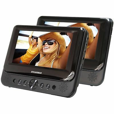 """Car 7"""" Dual Screen DVD Player Portable USB LCD Headrest Built-in Speakers NEW"""