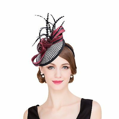 Womens Sinamay raffia Fascinator Cocktail Hat Wedding Church Kentucky Derby T221
