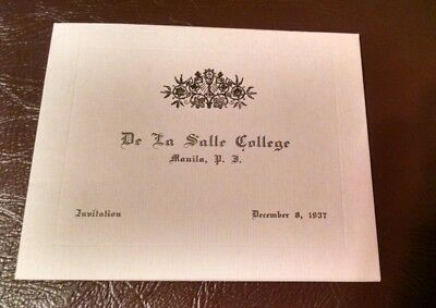 vintage 1937 Manila Philippines De La Salle college university invitation