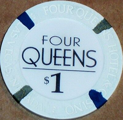 Old $1 FOUR QUEENS Casino Poker Chip Vintage House Mold Las Vegas NV 2000 EX