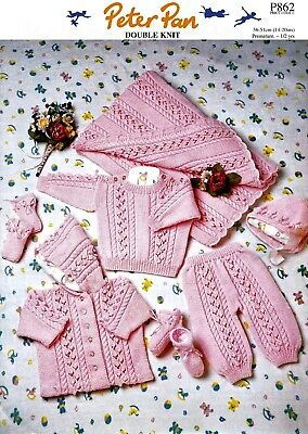 "Peter Pan # 862   ""COPY""   Baby Knitted Set 7 items  36-51 cm / 14-20""  8 Ply"