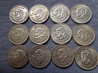 12 x Australian shilling silver coins George VI and QEII bulk lot 1940s - 1960s