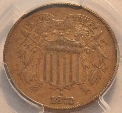 1872 2C PCGS AU Details Two Cent Piece, Scarce KEY Date Great High End Look Coin
