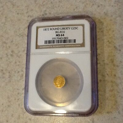 1872 California Fractional Gold Round Liberty G25C BG-816 NGC MS-64