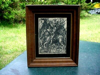 c 1 Old Very KQQL Medieval Knight On Horse With Dogs Resin Plate Etching Picture