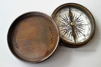 Solid Brass Antique Working Compass Vintage Nautical ROBERT FROST POEM