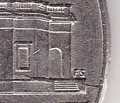 2013P USA 5c coin - 3 die crack & extra metal